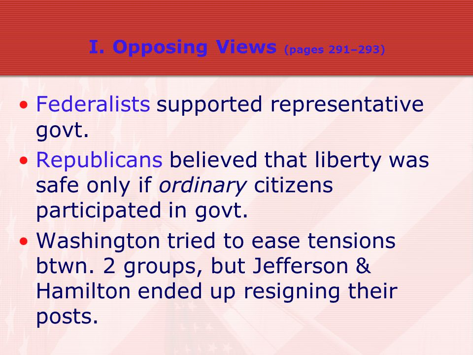 Federalists supported representative govt.
