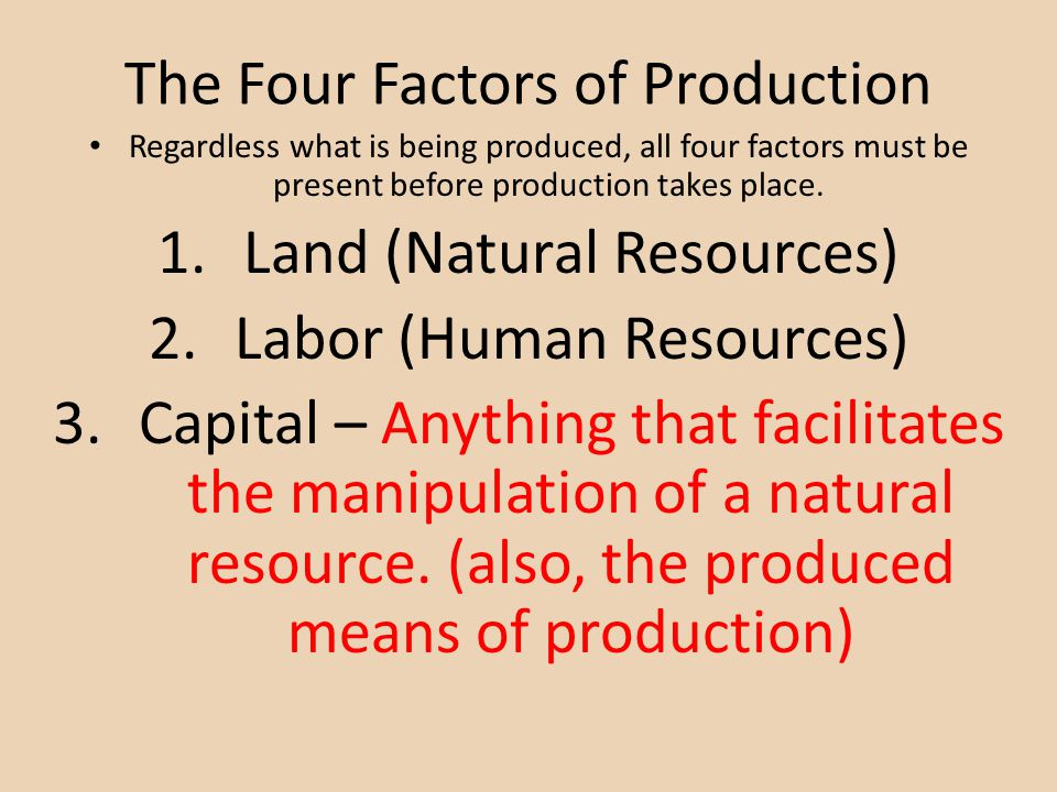 four factors of production Definition of factors of production: generally classified into four (which brings all the previous resources together for production) these factors are.