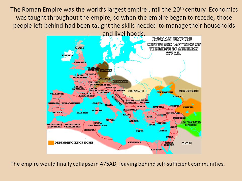 The Roman Empire was the world's largest empire until the 20th century
