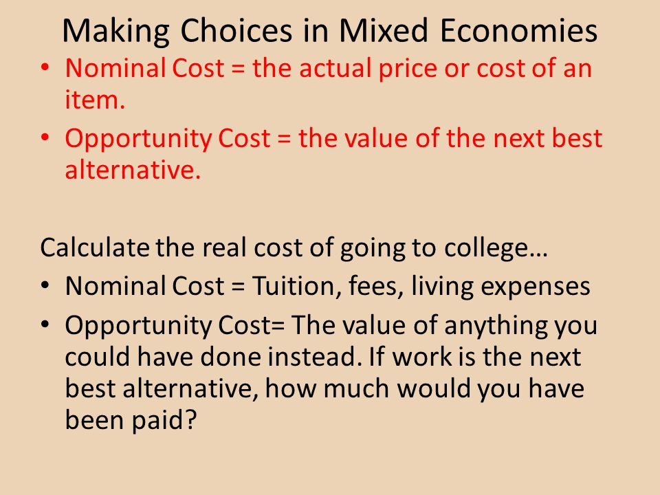 Making Choices in Mixed Economies