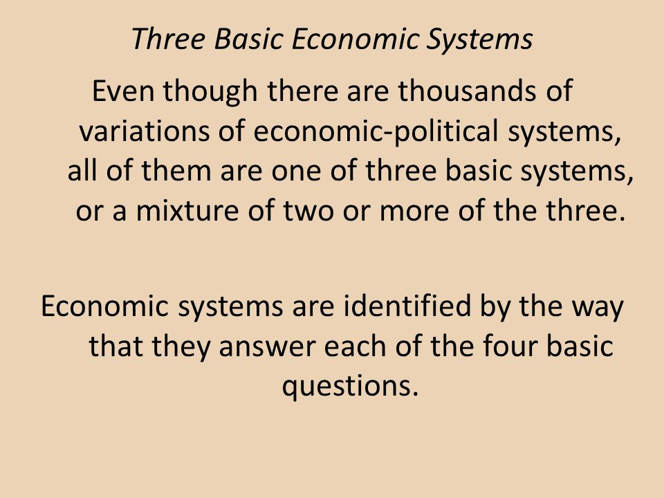 Three Basic Economic Systems