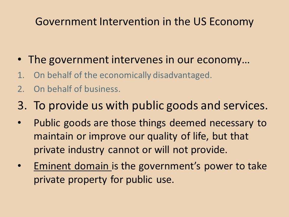 Government Intervention in the US Economy