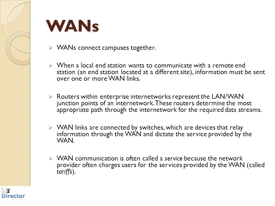WANs WANs connect campuses together.