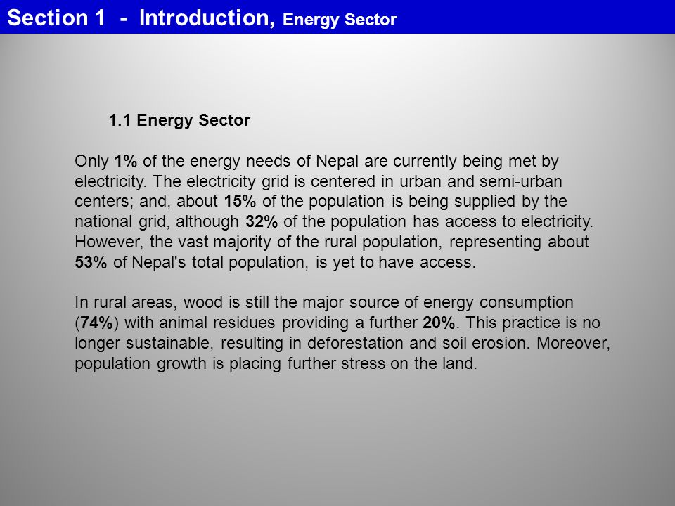 Section 1 - Introduction, Energy Sector