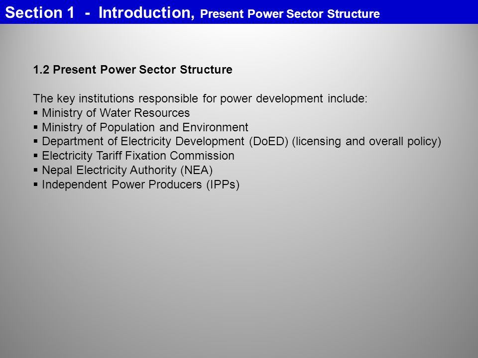 Section 1 - Introduction, Present Power Sector Structure