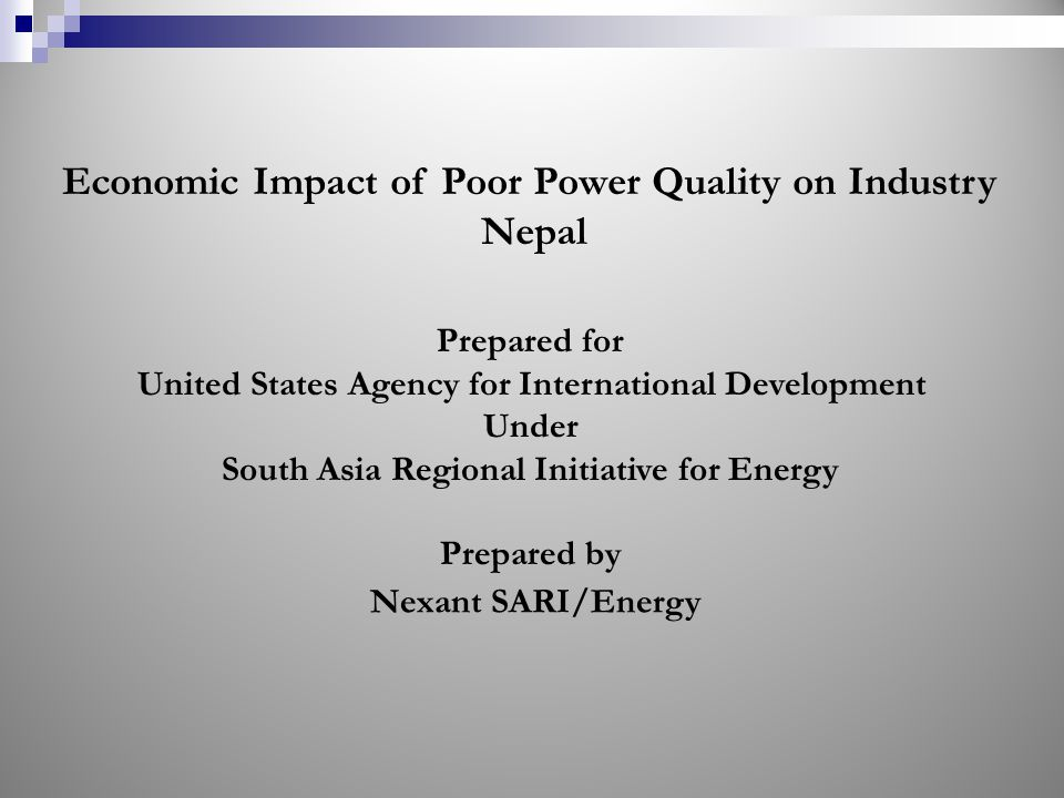 Economic Impact of Poor Power Quality on Industry Nepal