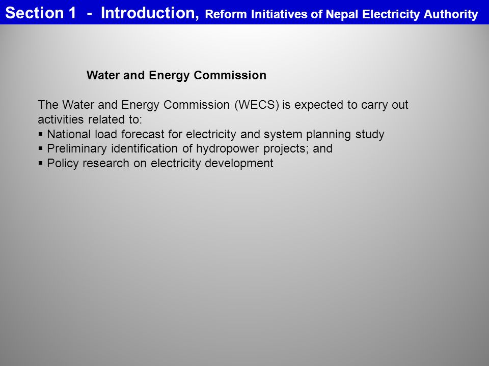 Section 1 - Introduction, Reform Initiatives of Nepal Electricity Authority