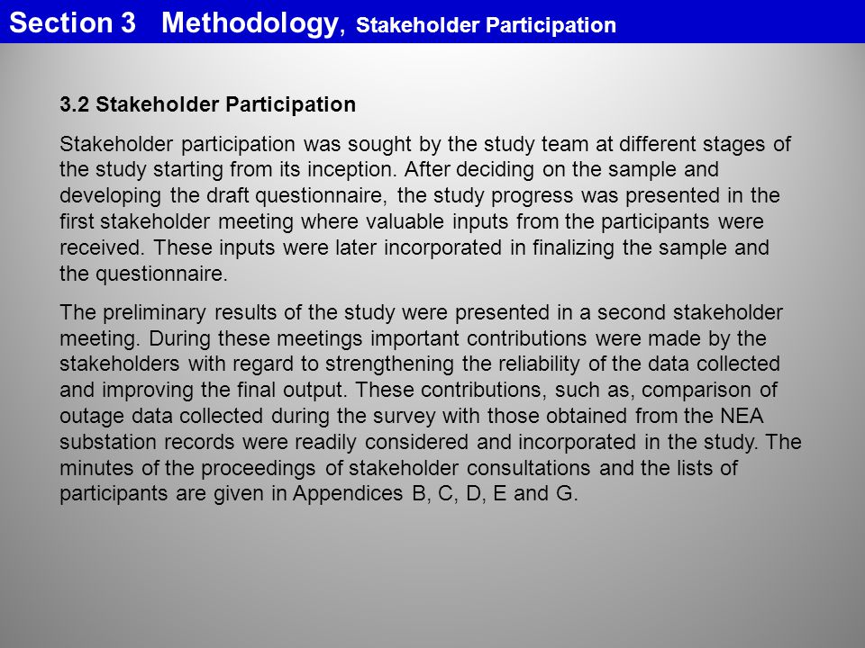Section 3 Methodology, Stakeholder Participation