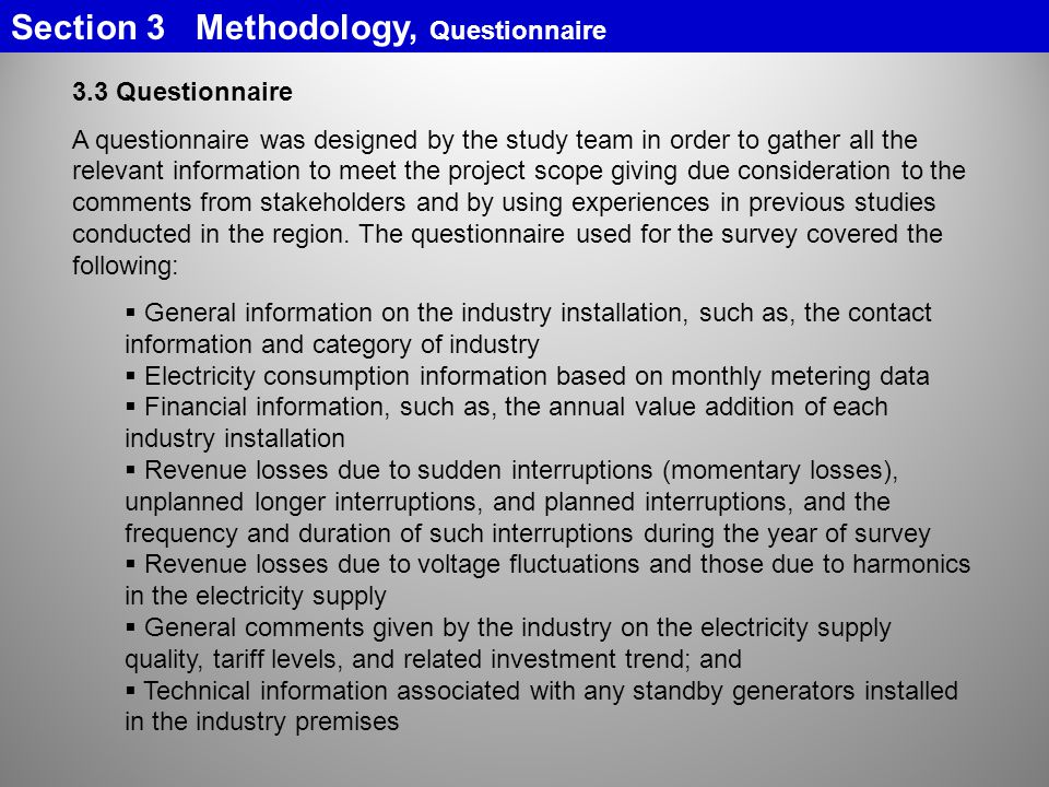 Section 3 Methodology, Questionnaire