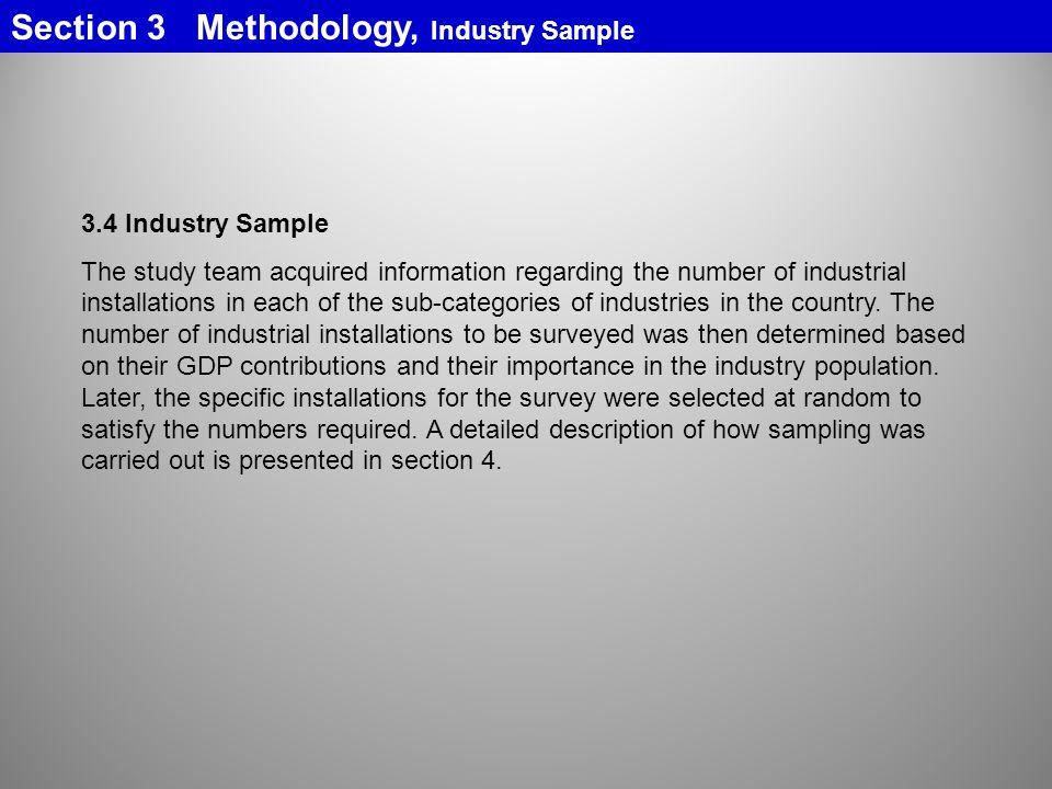 Section 3 Methodology, Industry Sample