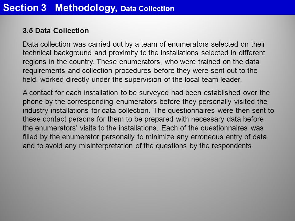 Section 3 Methodology, Data Collection