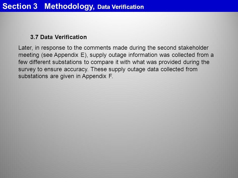 Section 3 Methodology, Data Verification