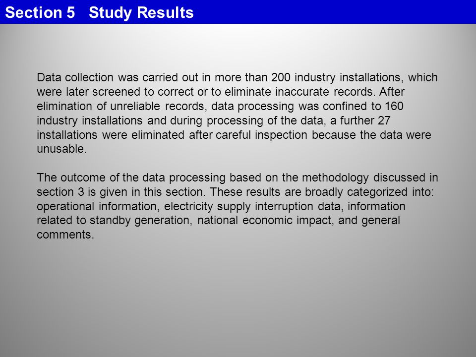 Section 5 Study Results