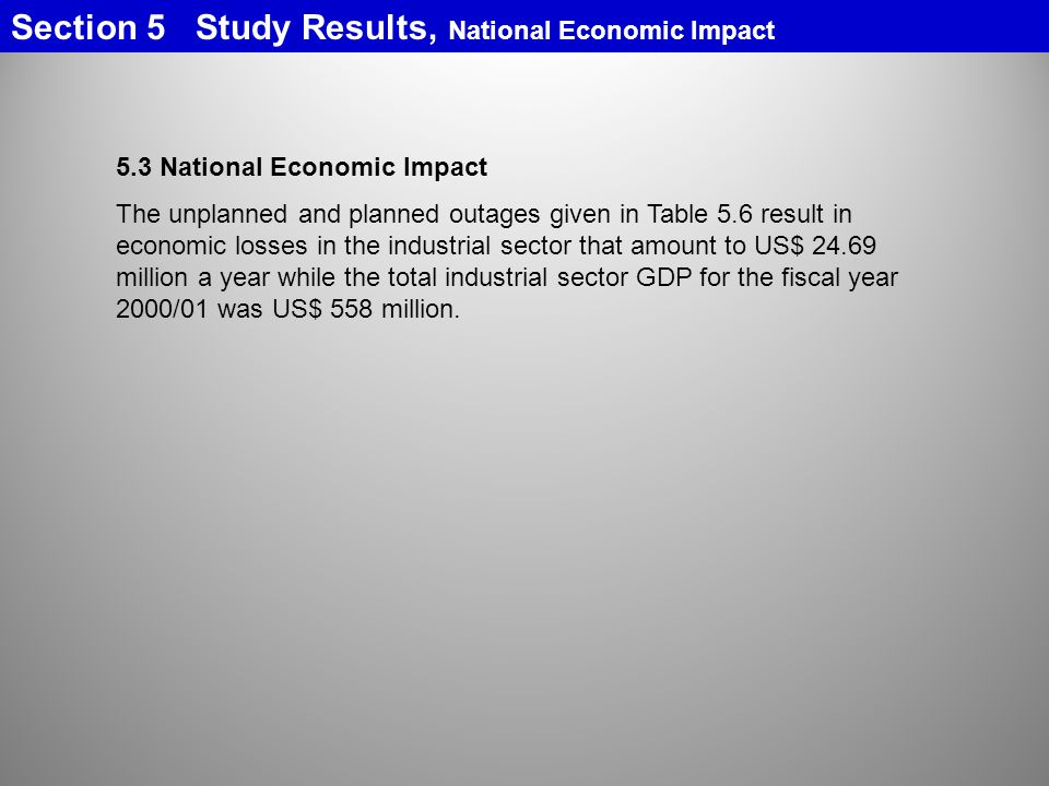 Section 5 Study Results, National Economic Impact
