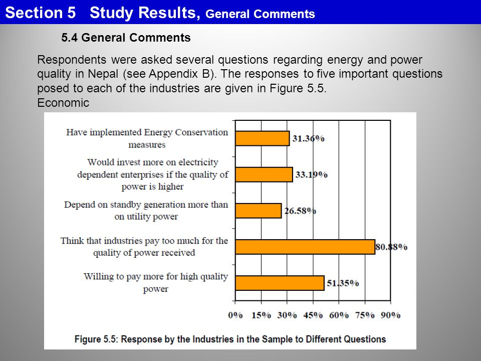 Section 5 Study Results, General Comments