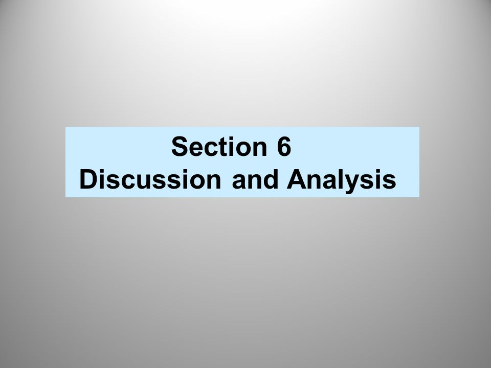 Discussion and Analysis