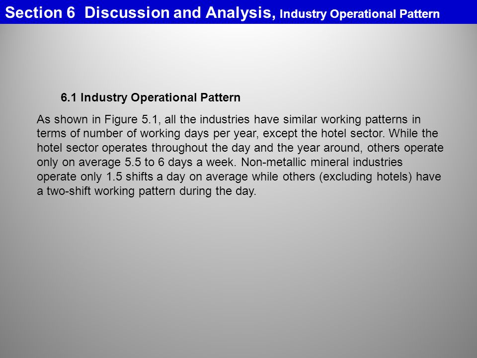 Section 6 Discussion and Analysis, Industry Operational Pattern