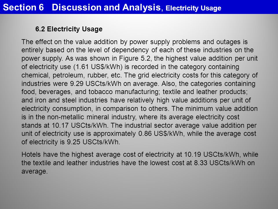 Section 6 Discussion and Analysis, Electricity Usage