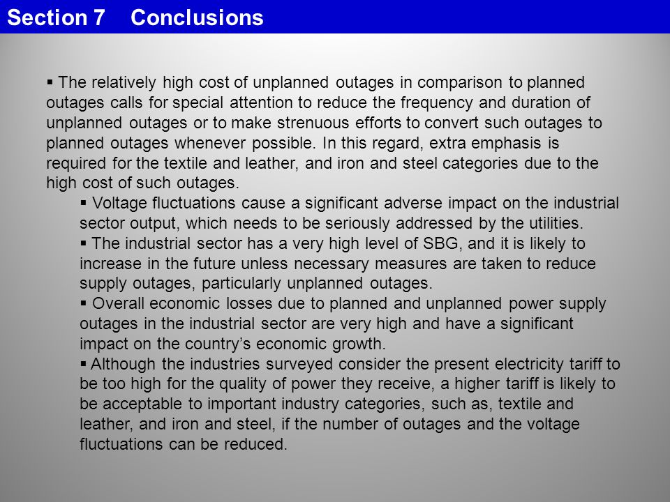 Section 7 Conclusions