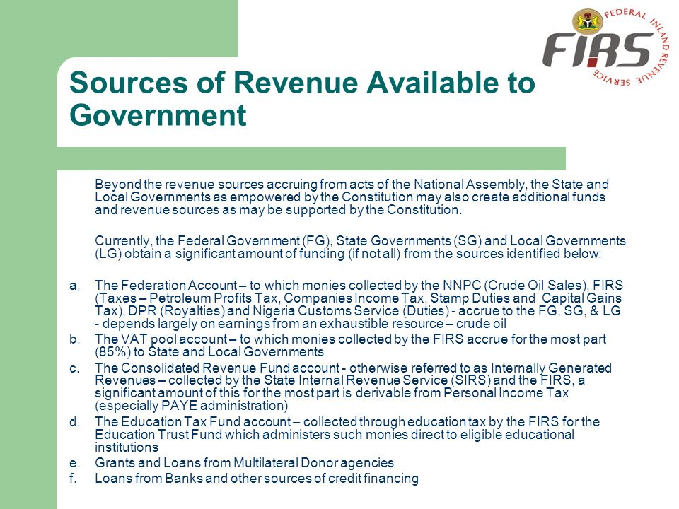 Sources of Revenue Available to Government