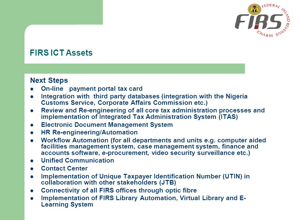 FIRS ICT Assets Next Steps On-line payment portal tax card