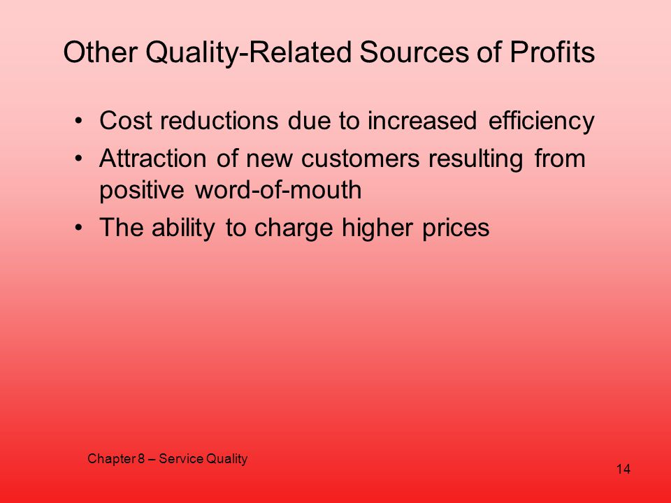 Other Quality-Related Sources of Profits