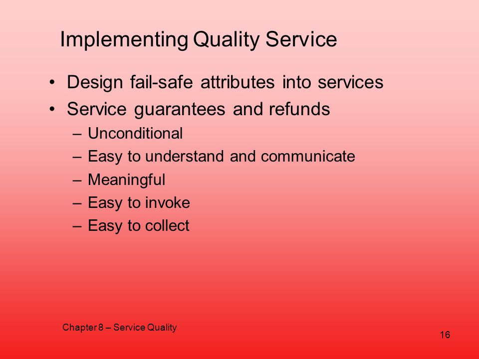 Implementing Quality Service