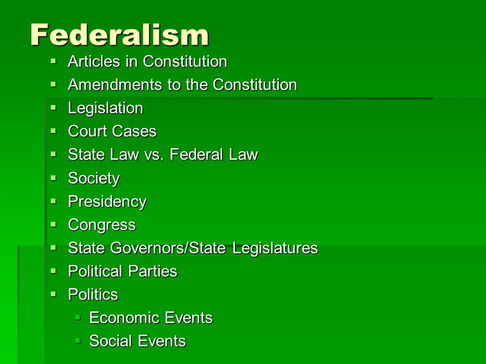 Federalism Articles in Constitution Amendments to the Constitution