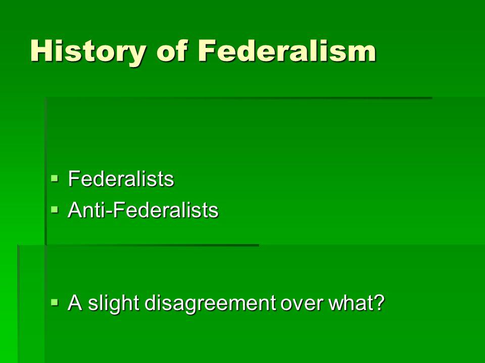 History of Federalism Federalists Anti-Federalists