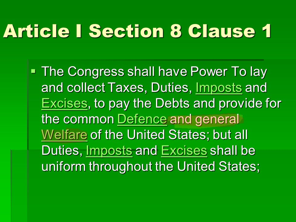 Article I Section 8 Clause 1