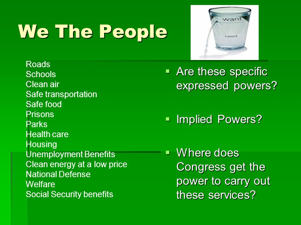 We The People Are these specific expressed powers Implied Powers