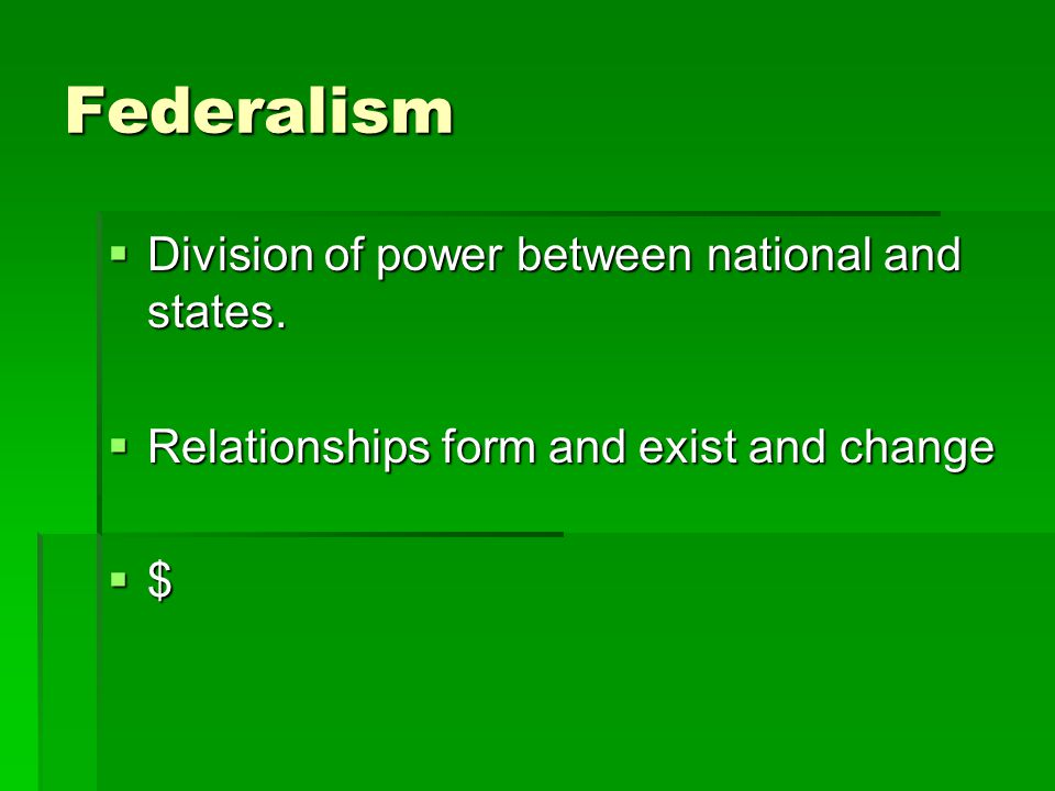 Federalism Division of power between national and states.