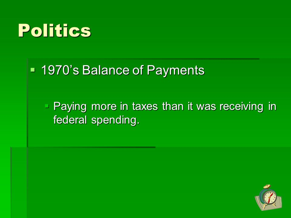 Politics 1970's Balance of Payments