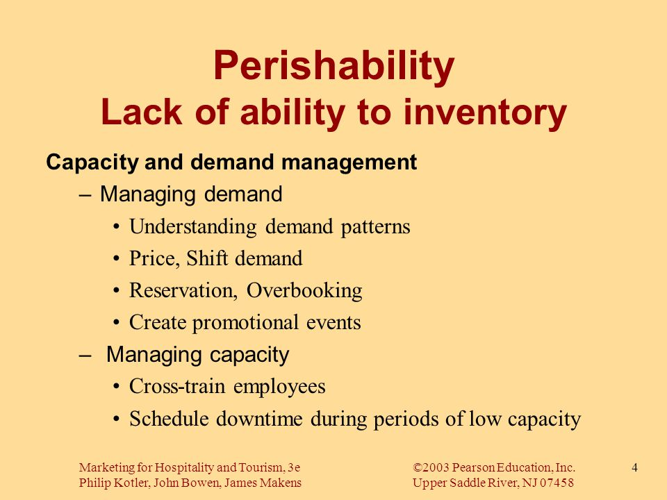 Perishability Lack of ability to inventory