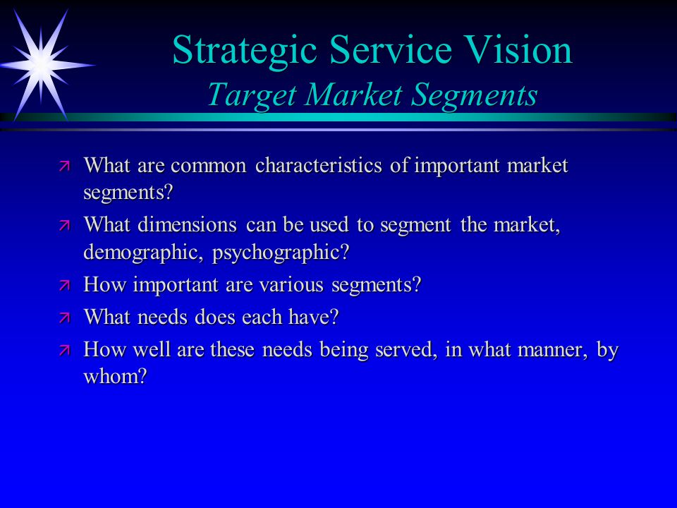 Strategic Service Vision Target Market Segments