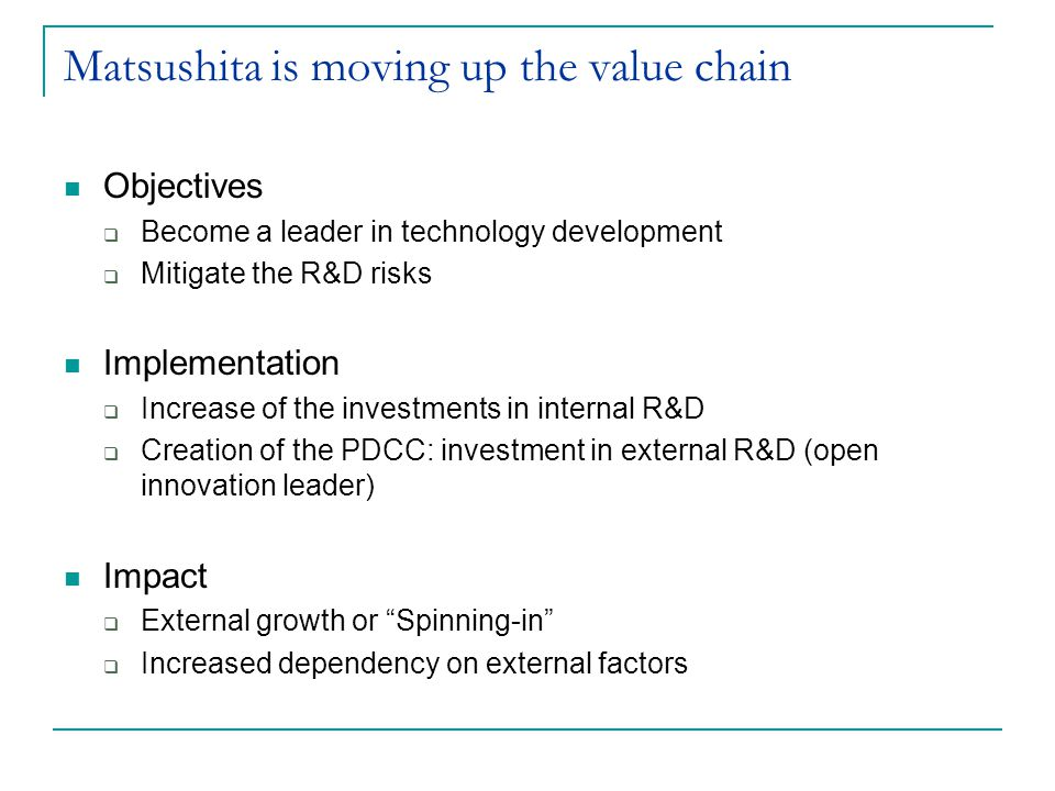 Matsushita is moving up the value chain