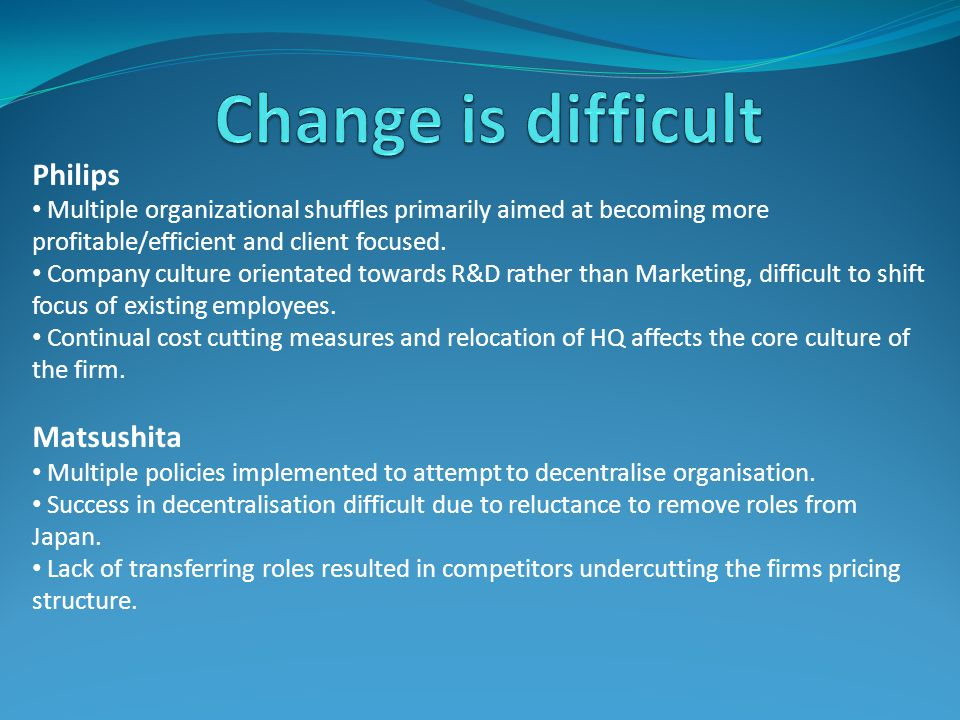 Change is difficult Philips Matsushita