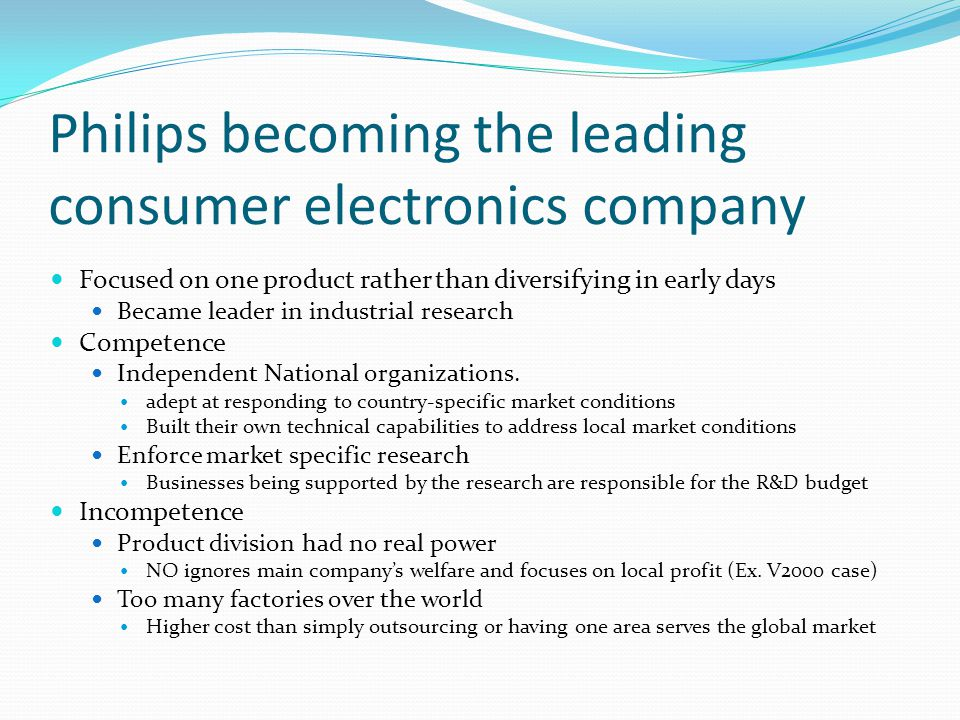 Philips becoming the leading consumer electronics company