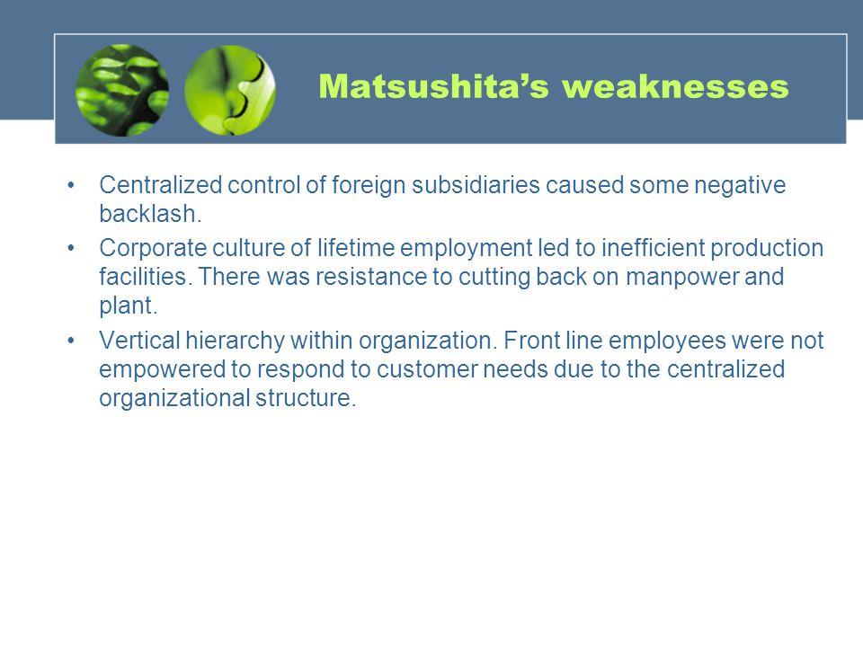 Matsushita's weaknesses