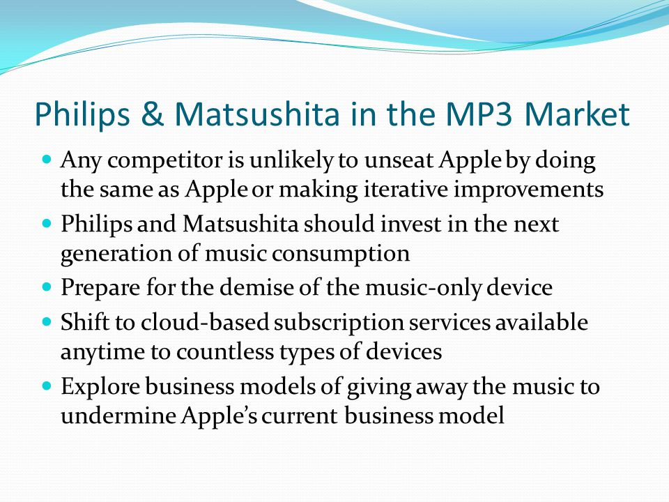 Philips & Matsushita in the MP3 Market