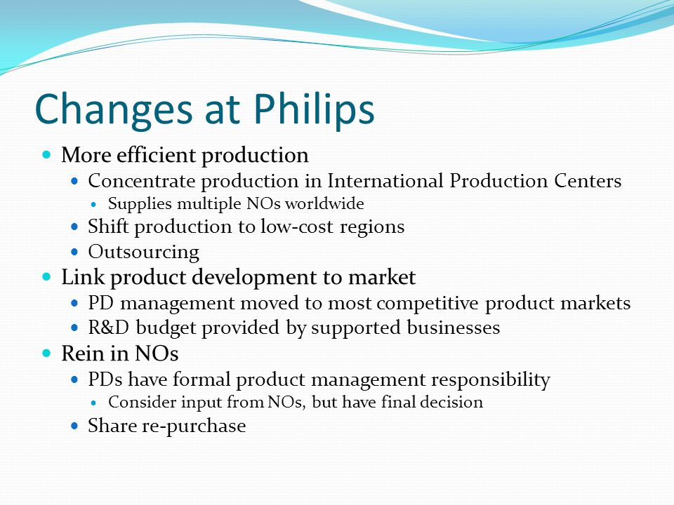 Changes at Philips More efficient production