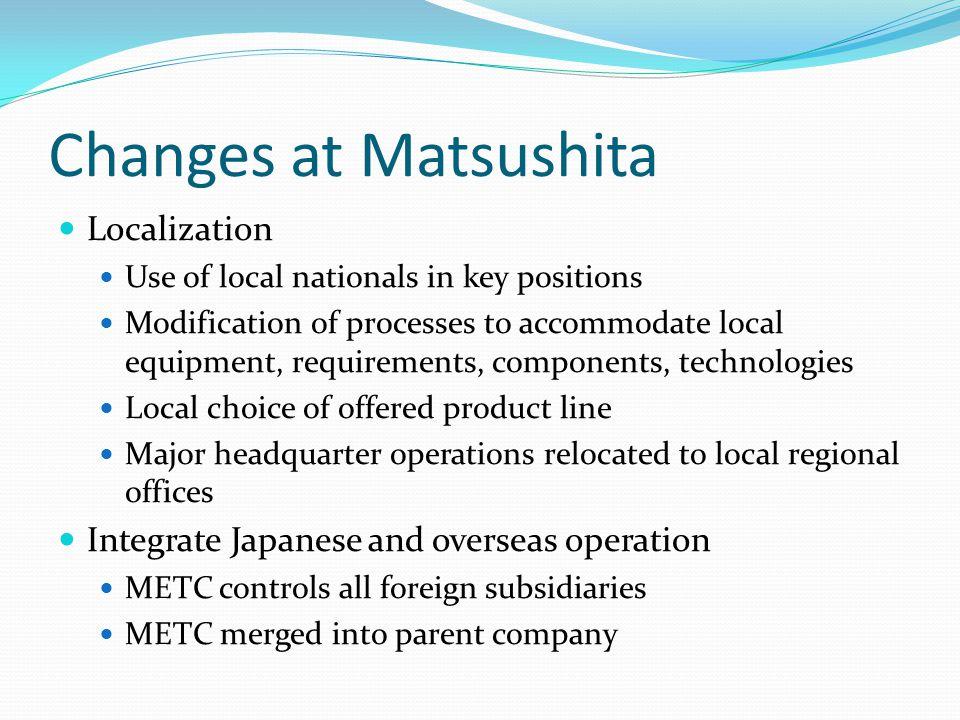 Changes at Matsushita Localization