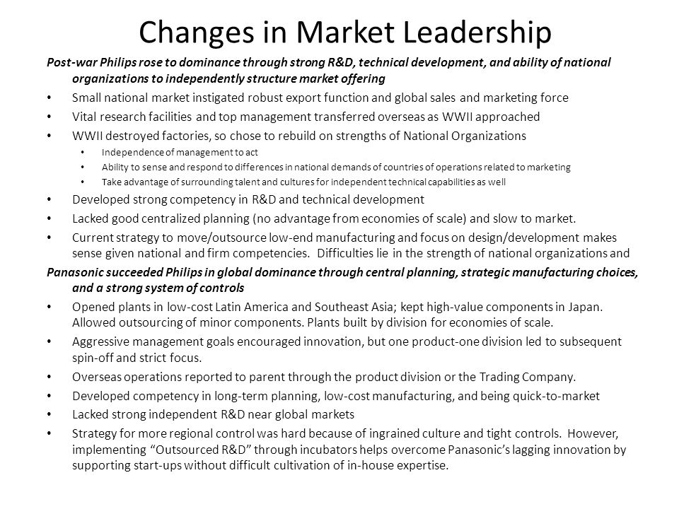 Changes in Market Leadership