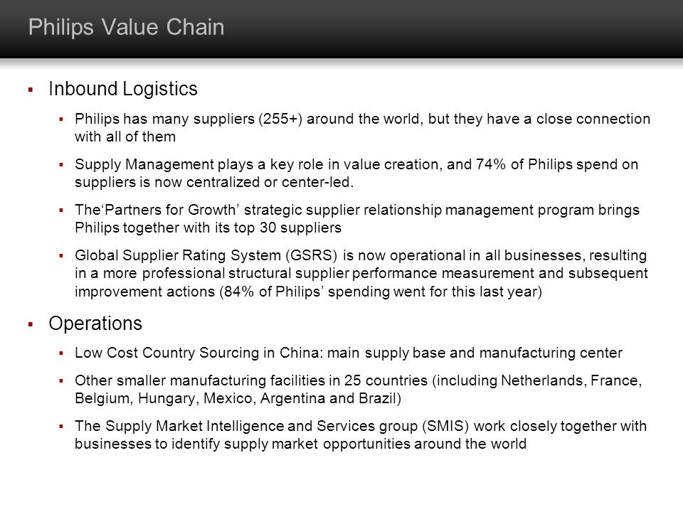 Philips Value Chain Inbound Logistics Operations