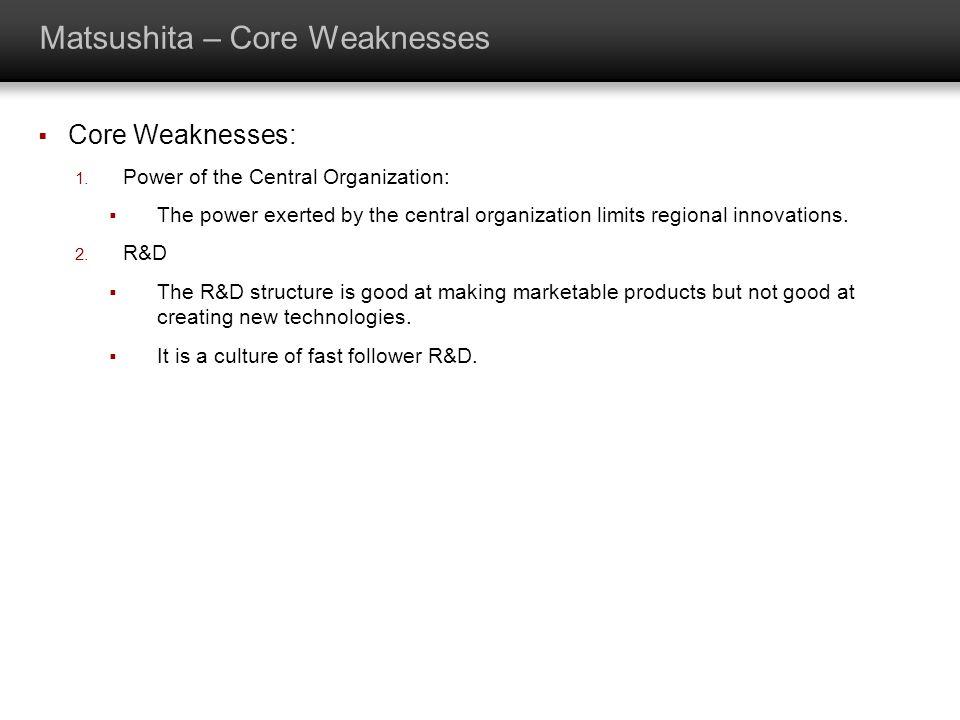 Matsushita – Core Weaknesses