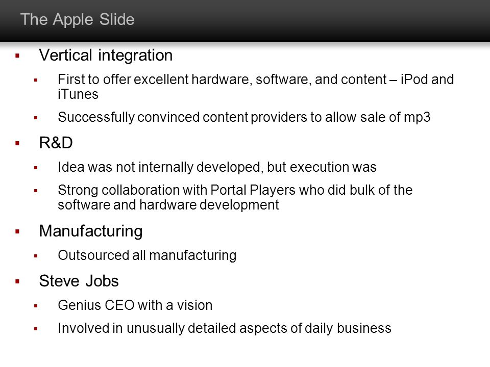 The Apple Slide Vertical integration R&D Manufacturing Steve Jobs