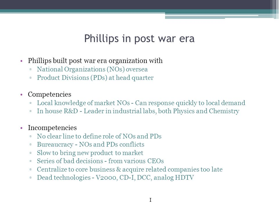 Phillips in post war era