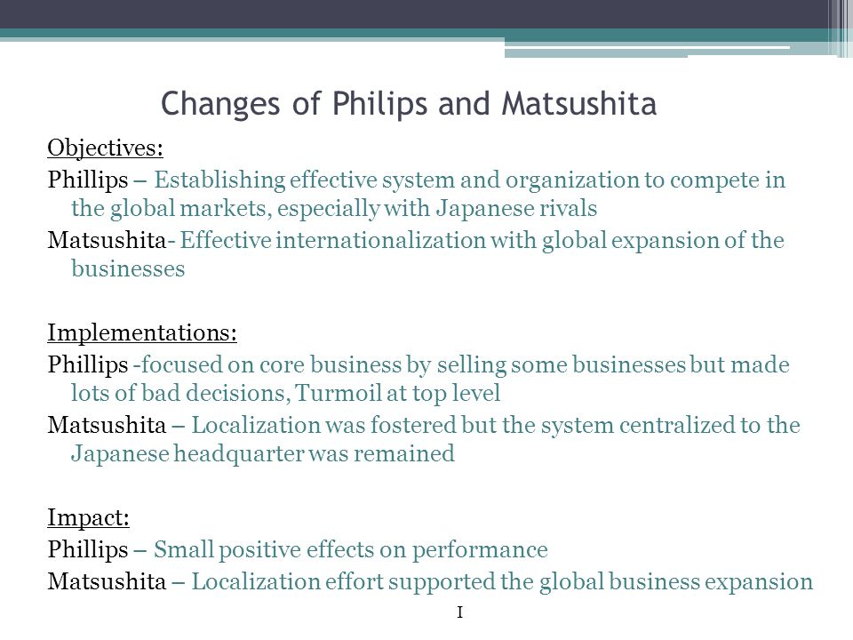Changes of Philips and Matsushita
