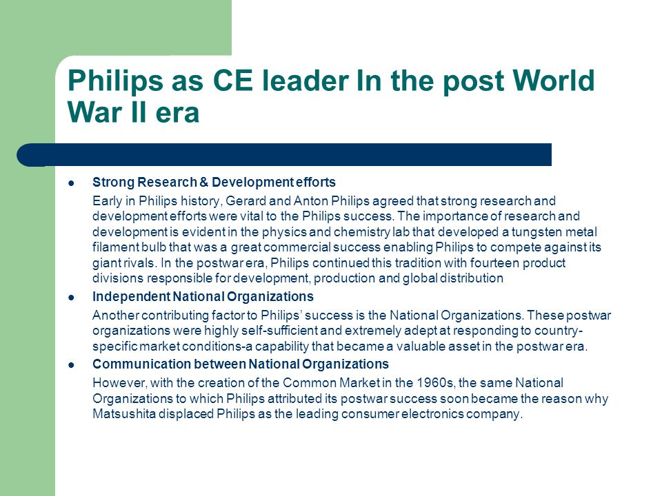 Philips as CE leader In the post World War II era