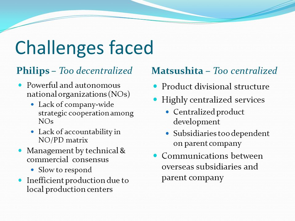 Challenges faced Philips – Too decentralized